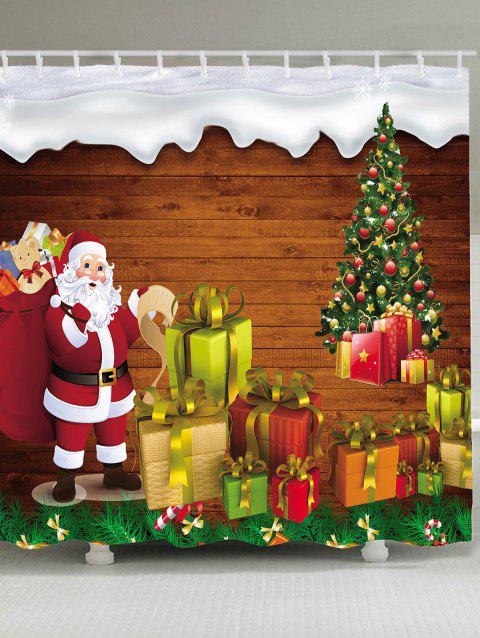 Santa Claus and Gifts Printed Waterproof Shower Curtain - COLORMIX W71 INCH * L79 INCH