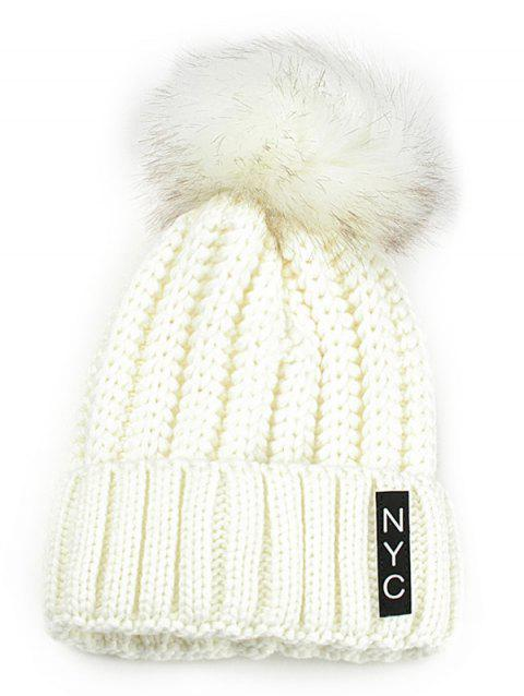 2e4b9545d42180 41% OFF] 2019 Letter Pattern Embellished Fuzzy Ball Knitted Beanie ...