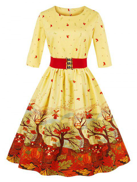Christmas Vintage Forest Print Pin Up Skater Dress - YELLOW M