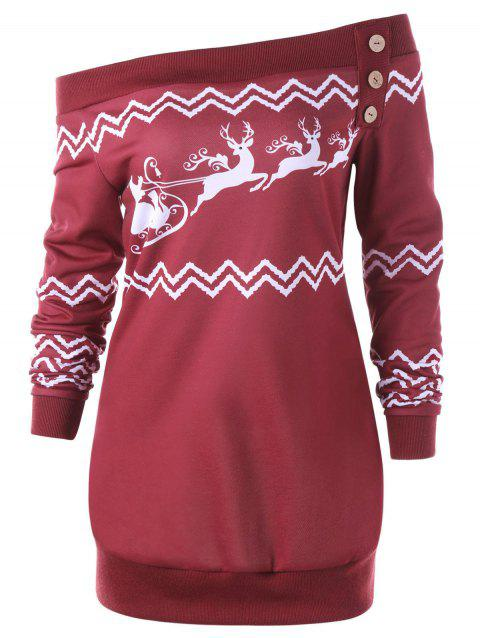 Plus Size Pullover Zigzag Deer Skew Neck Christmas Sweatshirt - RED XL