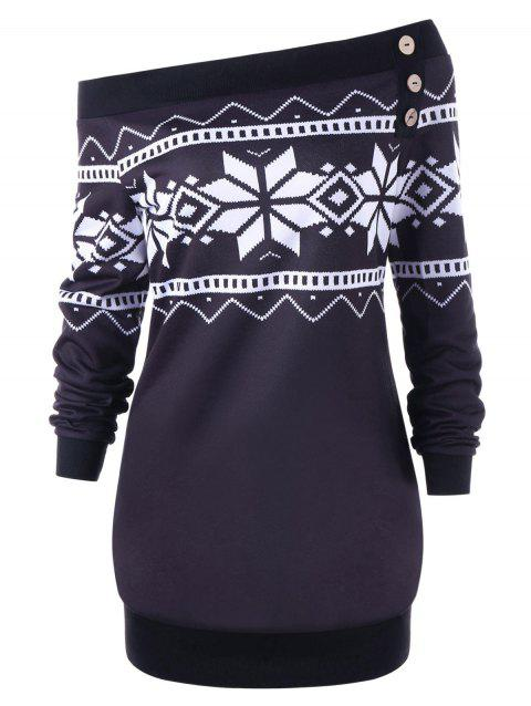 Plus Size Snowflake Geometric Skew Neck Pullover Sweatshirt - BLACK XL