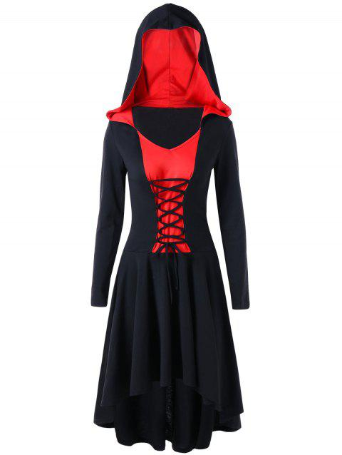 Two Tone Hooded Lace Up Dress - RED L