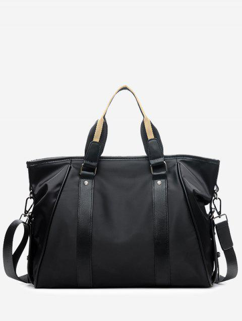 Contrasting Color Rivet Handbag With Strap - BLACK