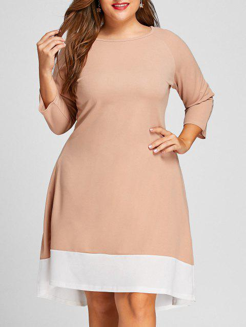 5eec239ac2 LIMITED OFFER  2019 Contrast Plus Size Long Sleeve High Low Dress In ...