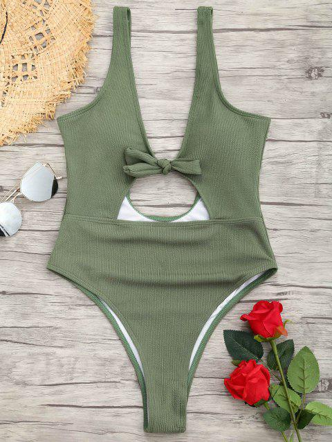 Ribbed Knot Backless One Piece Swimsuit - GREEN L
