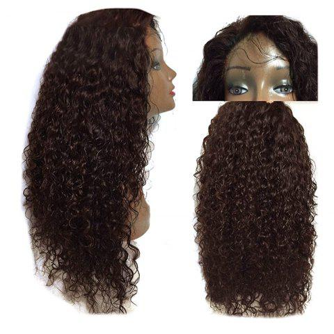 Long Free Part Fluffy Kinky Curly Synthetic Lace Front Wig - DEEP BROWN