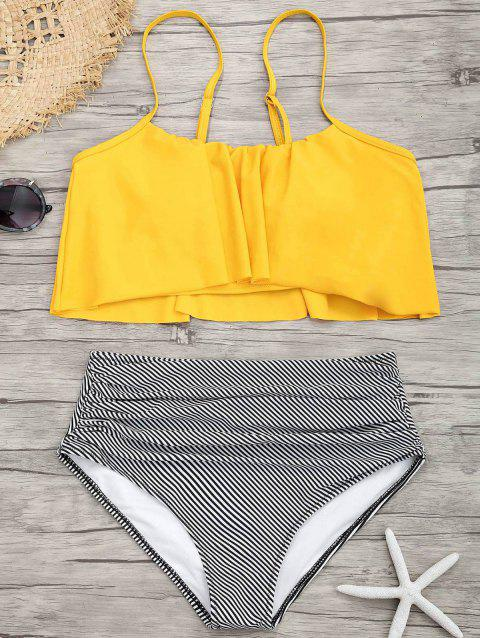 Flounce Spaghetti Strap Striped Bikini Set - YELLOW S