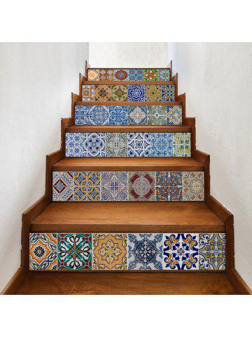 Bohemian Ceramic Tiles Patterned Staircase Stickers