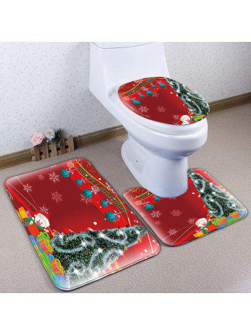 3Pcs Flannel Christmas Printed Toilet Bath Rugs Set