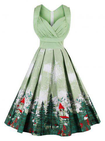 vintage forest print ruched christmas pin up dress - Christmas Dresses