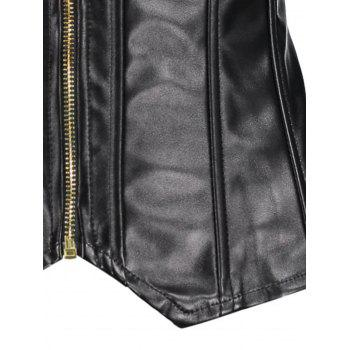 Zippers Lace Up PU Leather Corset - BLACK XL