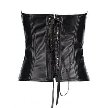 Zippers Lace Up PU Leather Corset - BLACK M