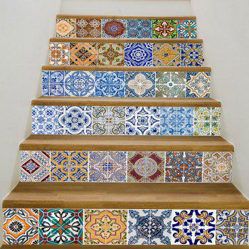 Bohemian Ceramic Tiles Patterned Staircase Stickers - COLORFUL 6PCS:39*7 INCH( NO FRAME )