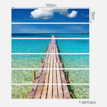 3D Sea Plank Bridge Patterned Stair Stickers - BLUE/GREEN 6PCS:39*7 INCH( NO FRAME )