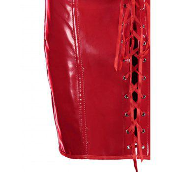 Tie Up PU Leather Club Corset Dress - RED RED