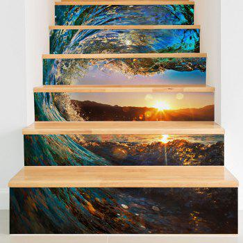 Tornado Seascape Patterned 3D Staircase Stickers - COLORFUL 6PCS:39*7 INCH( NO FRAME )