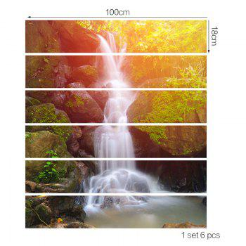 6Pcs Spring Waterfall Patterned 3D Stair Stickers - GOLD/GREEN 6PCS:39*7 INCH( NO FRAME )