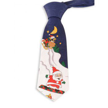 Funny Santa Claus and Elk are Skiing Pattern Christmas Necktie