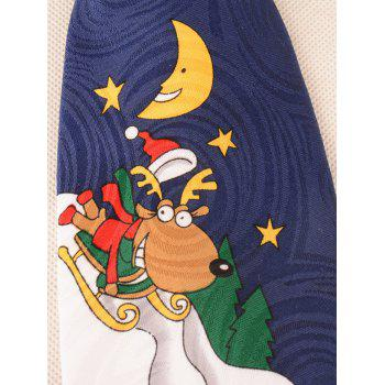 Funny Santa Claus and Elk are Skiing Pattern Christmas Necktie - CADETBLUE