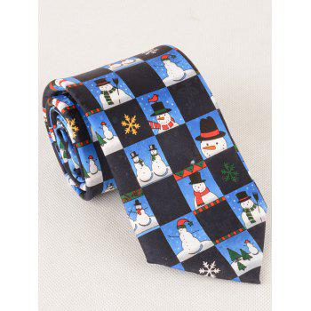 8.5CM Width Christmas Snowman and Snowflake Pattern Christmas Necktie - ROYAL