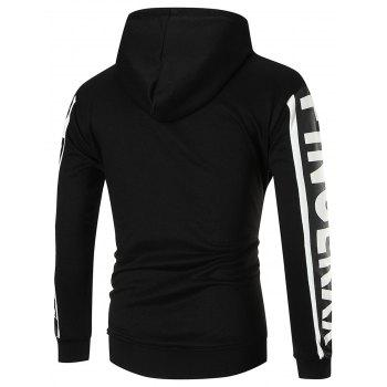 Color Block Sports Graphic Hoodie - BLACK L