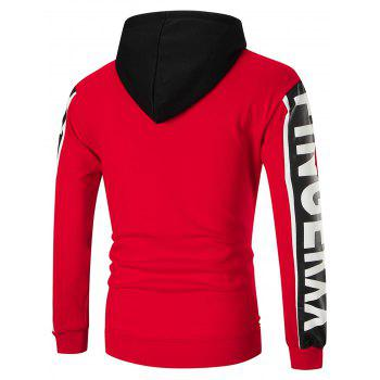 Color Block Sports Graphic Hoodie - RED M