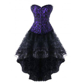 Strapless High Low Lace Up Steel Boned Corset Dress - PURPLE PURPLE