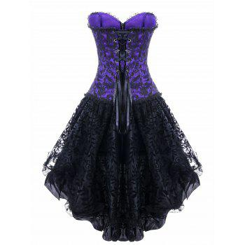 Strapless High Low Lace Up Steel Boned Corset Dress - PURPLE 2XL