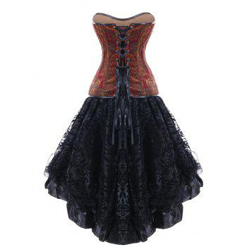 Strapless Skull PU Insert High Low Corset Dress - BLACK BLACK