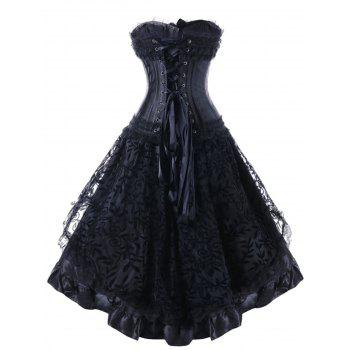 Faux Leather High Low Strapless Corset Dress - BLACK S