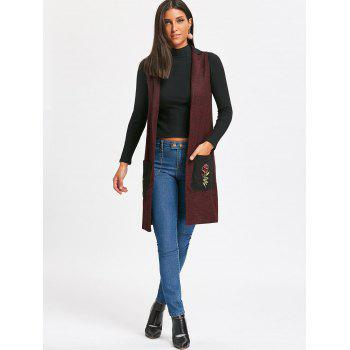 Embroidered Pockets Heathered Longline Waistcoat - WINE RED S