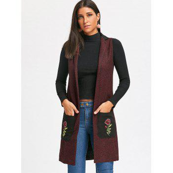 Embroidered Pockets Heathered Longline Waistcoat - WINE RED M