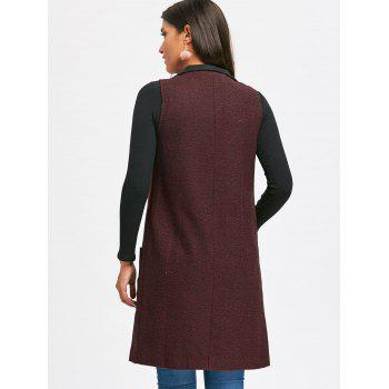 Embroidered Pockets Heathered Longline Waistcoat - WINE RED L