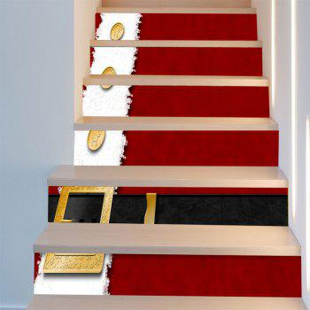 Christmas Belt Printed Home Decor Stair Stickers - RED/WHITE 6PCS:39*7 INCH( NO FRAME )