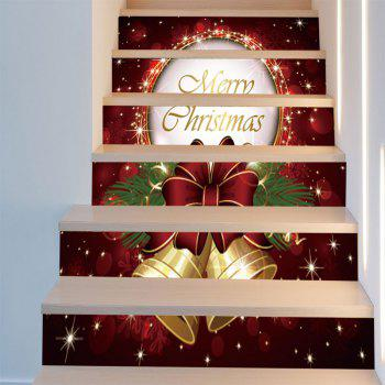 6Pcs Christmas Bells Pattern Stair Stickers - DEEP RED 6PCS:39*7 INCH( NO FRAME )