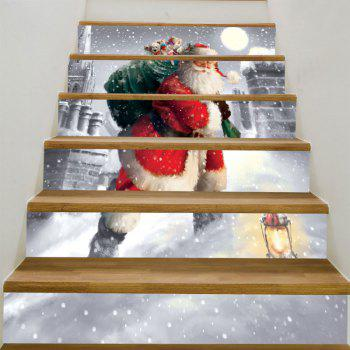Santa Claus Walking In the Snow Pattern Stair Stickers