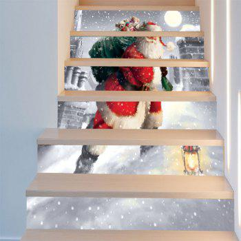 Santa Claus Walking In the Snow Pattern Stair Stickers - RED/WHITE 6PCS:39*7 INCH( NO FRAME )