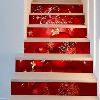 Christmas Ornaments Balls Pattern Staircase Stickers - DEEP RED 6PCS:39*7 INCH( NO FRAME )