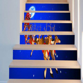 Starry Moon Night Christmas Sleigh Printed Stair Stickers - BLUE/RED 6PCS:39*7 INCH( NO FRAME )