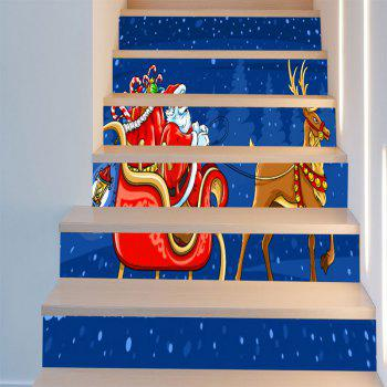 Santa Clause Elk Sleigh Printed Stair Stickers - BLUE/RED 6PCS:39*7 INCH( NO FRAME )