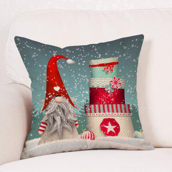 Snowy Christmas Gifts Print Linen Sofa Pillowcase - COLORMIX W18 INCH * L18 INCH