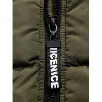 Side Stripe Zipper Up Hooded Padded Coat - ARMY GREEN L