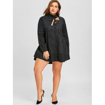 Long Plus Size Bowknot Embellished Shirt - BLACK 4XL