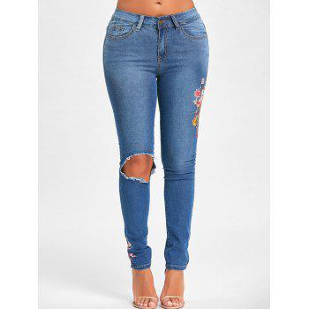 Floral Embroidery Ripped Denim Jeans - BLUE BLUE