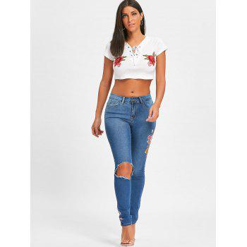 Floral Embroidery Ripped Denim Jeans - BLUE XL