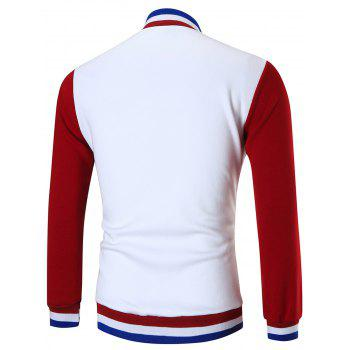 Casual Color Block Sports Baseball Jacket - WHITE L