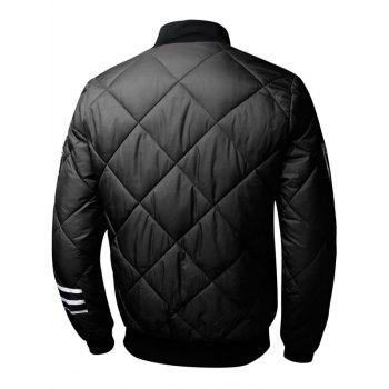 Zip Up Stripe Graphic Quilted Bomber Jacket - BLACK L