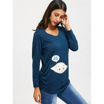 Side Ruched Baby Print Long Sleeve Top - CERULEAN M