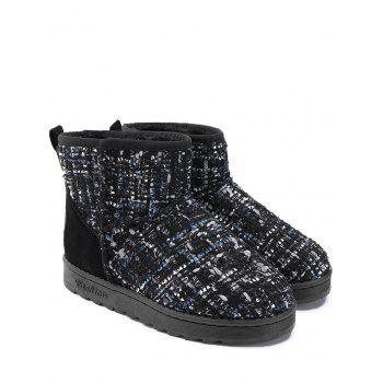Suede Panel Winter Snow Ankle Boots - BLACK 39