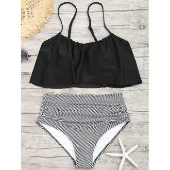 Flounce Spaghetti Strap Striped Bikini Set